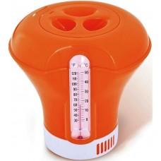 Дозатор для бассейна плавающий с термометром K619BU orange 2 в 1