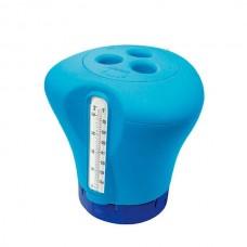 Дозатор для бассейна плавающий с термометром Kokido K619BU blue 2 в 1